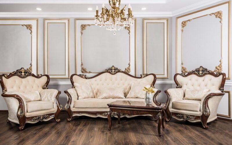 Set canapea cu fotolii Gioconda Crem / Maro