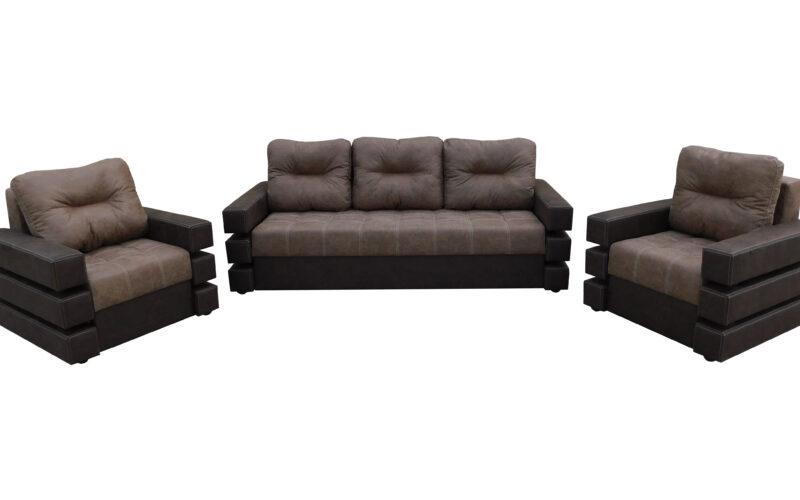 Set canapea cu fotolii Morgan Ciocolata
