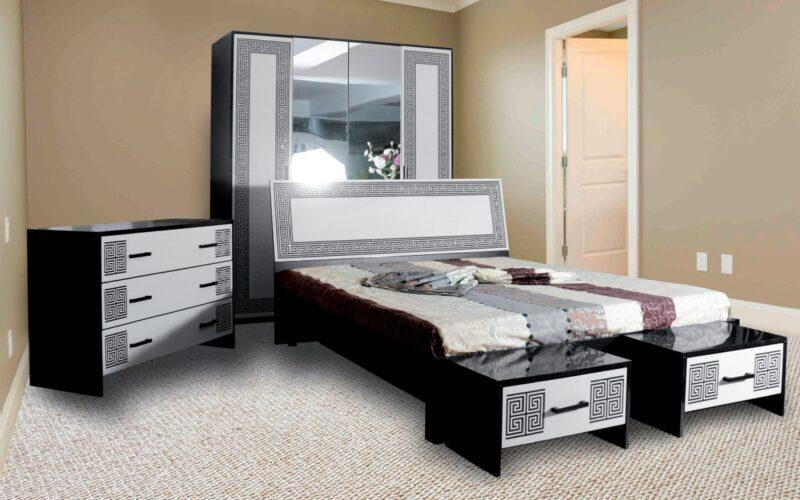 Mobila dormitor Viola Alb/Negru